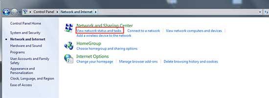 2. เลือก View network status and tasks