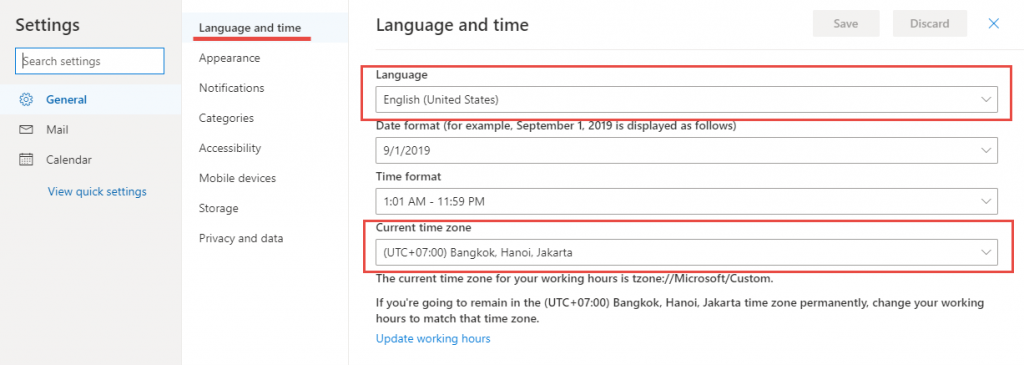 ปรับเมนูภาษา Outlook ,TimeZone Outlook Online( Office 365 )