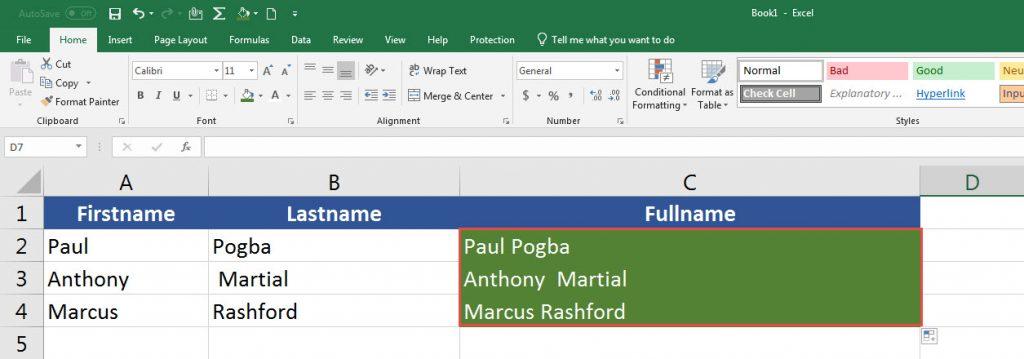 Excel ข้อความต่อกัน ผสานเซลล์ ชื่อ นามสกุล เข้าหากัน